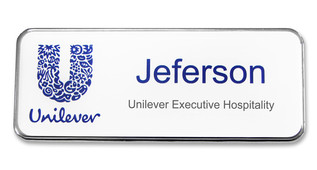 Prestige Premium name badges - Silver border and white background | www.namebadgesinternational.co.uk